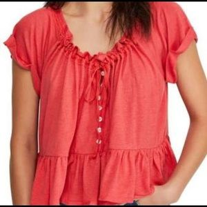 Free People Cora Short Sleeve Flowing Top Size L